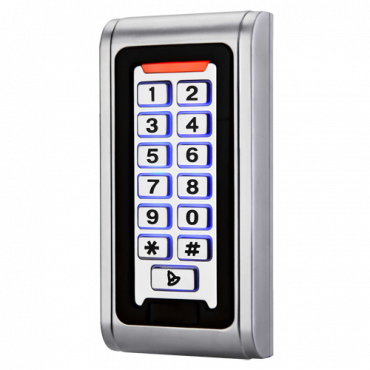 CAM-CP103-MF: Standalone access control - Keypad and Mifare access - Exit relay, alarm and doorbell - Wiegand 26 - Time control - Suitable for exterior IP68