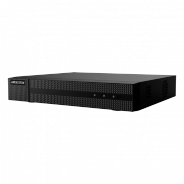 HWD-5104MS: 5n1 Hikvision recorder - 4 CH HDTVI / HDCVI / AHD / CVBS / 1 IP - 1080p Lite/720p (1~25FPS) - Full HD HDMI and VGA Output - 1 CH audio | Audio over coaxial cable - Space for 1 HDD