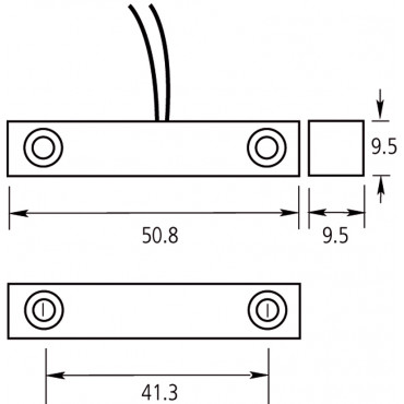 DC101R4.7: Reb.contact with sabotage loop, 2.5m, white, distance ±15mm, NC. Includes 2 resistors.