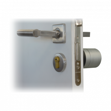 SF-SMARTLOCK-BT: Bluetooth Smart Lock - European motorized cylinder 35 x 35 mm - Invited users without being nearby - Empty, family and rental housing - Physical key for manual opening - Free management and opening app