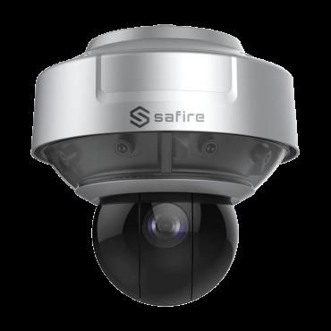 "SF-IPPAN184-16Y: Panoramic IP Camera + PTZ 2 Megapixel - 4 Lenses 1/2.8"" Progressive Scan CMOS - PTZ 6~240 mm 1/2.8"" (40X) Auto Iris - IR LEDs Range 250 m - Overview 180º - Audio   Alarm"