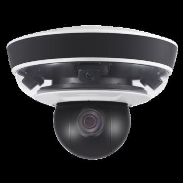 "SF-IPPAN361HA-2Y: Panoramic IP Camera + PTZ 2 Megapixel - 3 Lenses 1/2.8"" Progressive Scan CMOS - PTZ 5~50 mm 1/2.8"" (10X) Auto Iris - IR LEDs Range 50 m - Overview 240º - Audio   Alarm"