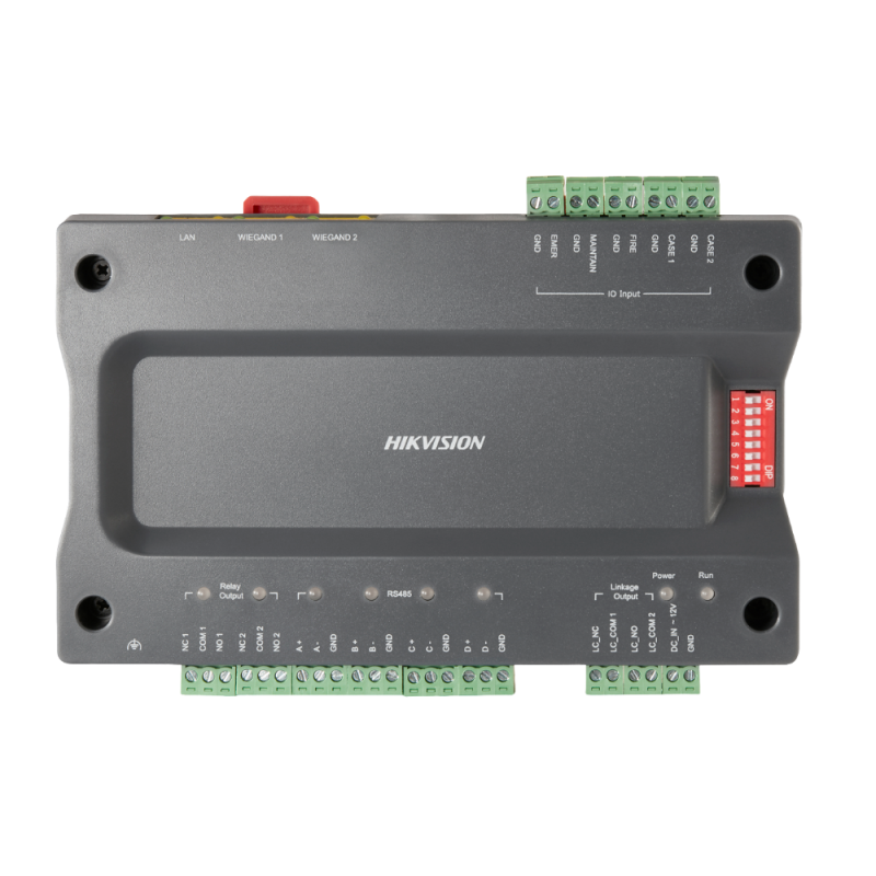 DS-K2210: Access controllers for elevators - Access by fingerprint, facial, card or password - TCP/IP Communication - 2 Wiegand inputs 26 and 2 RS485 - Output of 2 relays  - iVMS-4200