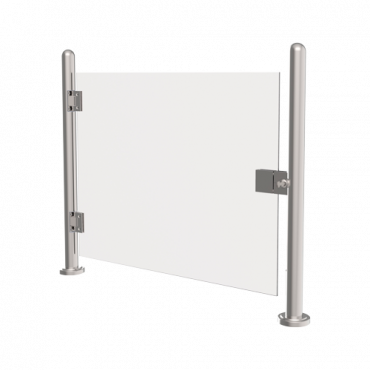 TS-GLASSDOOR-120: Stainless steel glass fence - Manual opening of the acrylic door - Compatible with turnstiles - Passage restriction - Acrylic door included - Dimensions 980 mm (h) 1200 mm (w)