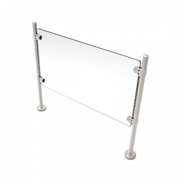 TS-HANDRAIL-G120: Stainless steel glass fence - Compatible with turnstiles - Passage restriction - Acrylic glass included - Dimensions 980 mm (h) 1200 mm (w)