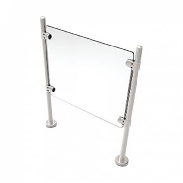 TS-HANDRAIL-G50: Stainless steel glass fence - Compatible with turnstiles - Passage restriction - Acrylic glass included - Dimensions 980 mm (h) 500 mm (w)