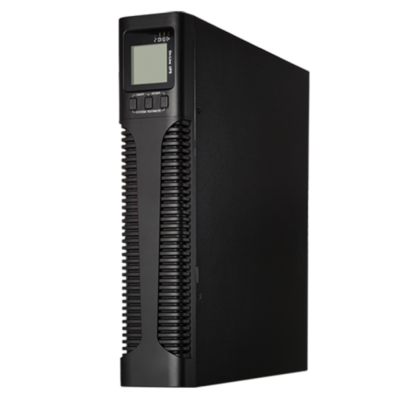 UPS1500VA-ON-2-RACK: Online UPS for rack or tower installation - Power 1500VA/1350W - 2 surge protected outputs - Recharge time 4h 90% - Hot swappable - 3 sealed lead-acid batteries