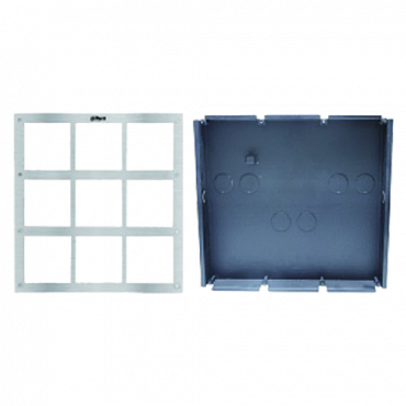 VTOF009-VTOB115: Front panel and registration box - Video intercom specific - compatible with XS-V2000E-M(X) modules - Up to 9 modules - Box made of steel - Panel made of stainless steel