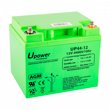 BATT-1244-U: Upower - Rechargeable battery - AGM lead-acid technology - Voltage 12 V - Capacity 45.0 Ah - 170 x 197 x 165 mm / 1420 g - For backup or direct use