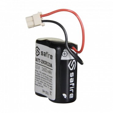 BATT-2XCR123A: Safire - Battery pack CR123A / CR17345 / 5018LC - In retractable with Molex connector 5284 - Voltage 6 V / Lithium - Nominal capacity 1600 mAh - Compatible with Visonic Next Cam detectors