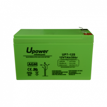 BATT1270-U: AGM lead acid battery - Voltage 12V - Capacity 7.0 Ah - 99 x 151 x 60 mm / 2180 g - For backup or direct use