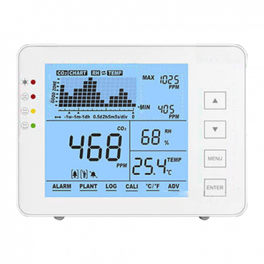 MT-CO2-1200P: Temperature and humidity meter from CO2, - With user-programmable visual and audible alarm - Maximum/minimum value - Measurement range from CO2 0~5000 ppm - Capacity to store data up to 1 week - Powered by USB