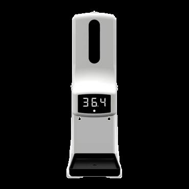 TEMP-DISPENSER: Sanitary gel dispenser with temperature measurement - Integrated infrared thermometer - 1L sanitary gel deposit - Sound alarm and informative LED - Adjustable alarm temperature - Bracket for desktop installation and collection of waste gel