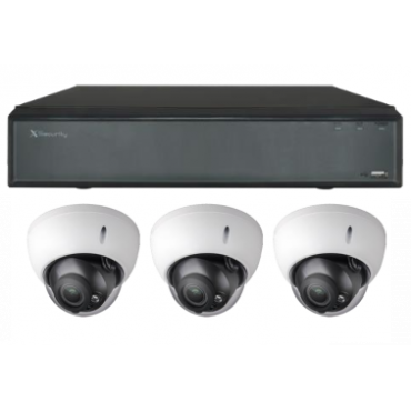 CCTV-4CH-X3: X-Security Camera set: 1x 4 channel NVR + 3x IP Dome cameras + 3x UTP cable with connectors