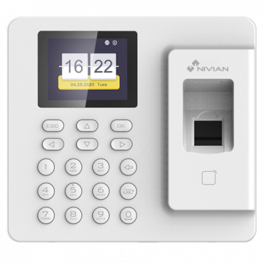 NV-TIMECONTROL-IP: Time & Attendance control - Fingerprint, Mifare Card and PIN - 1.000 recordings / 100.000 records - TCP/IP and USB - Time & Attendance Modes - Nivian Control Center AC Software