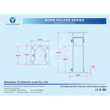YD-34-E: Bracket for the holder Dimensions: 147.55 x 72 x 65.50 mm - Rotation 180º - Black colour - Made of carbon alloy - Cable pass
