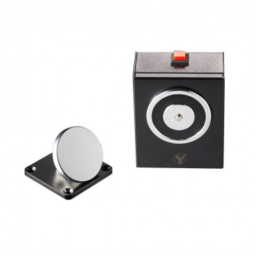 YD-604: Electromagnetic holder - For single doors - Retention force 50 Kg - Manual door release button - Power supply 24V DC - Wall or bracket mounting