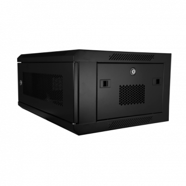 """RACK-4U-MESH: Rack cabinet for wall - Up to 4U rack of 19"""" - Up to 60 kg load - Mesh panels on front and sides for ventilation - Wiring access - Multiple connector of 6 power points included"""
