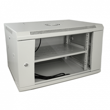 """RACK-6UG: Rack cabinet for wall - Up to 6U rack of 19"""" - Up to 60 kg load - With ventilation and cable passage - Ventilator and tray included - Multiple connector of 6 power points included"""