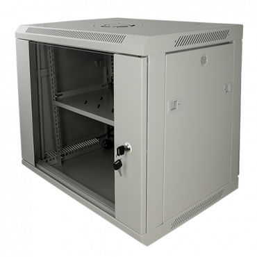 """RACK-9UG: Rack cabinet for wall - Up to 9U rack of 19"""" - Up to 100 kg load - With ventilation and cable passage - Fan and tray included - Aluminum strip of 6 jacks"""