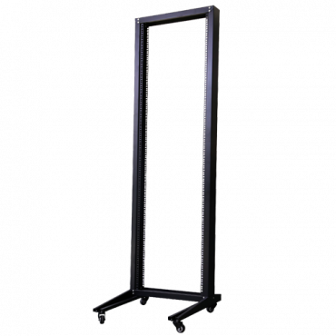 """RACK-OPEN-18U: Open floor standing cabinet - Up to 18U rack of 19"""" - Structure of 2 posts - Mobile Rack - Up to 120 kg load - Black colour"""