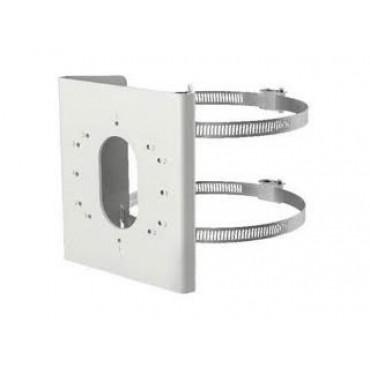 DS-1275ZJ-S-SUS: Hikvision pole adapter in stainless steel, painted white, mounting accessories included
