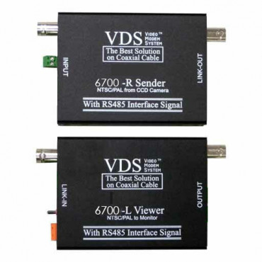 VDS6700: Video transmission set supports AHD, TVI, CVI, CVBS Video signals and PTZ - RS422, RS485 - range 500m
