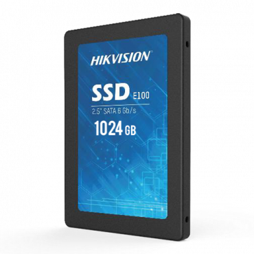 """HS-SSD-E100-1024G: Hikvision SSD hard disk 2.5"""" - Capacity 1024GB - SATA III Interface - Write speed up to 500 MB/s - Long lasting service life - Ideal for video surveillance"""