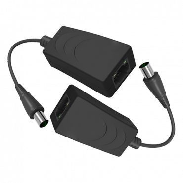 EOC-200: IP extender via coaxial cable - Passive | No power required - Transmitter and receiver - Allows transmission 1 IP channel - Maximum distance 200m (RG59) or 250m (RG6) - Bandwidth up to 100 Mbps