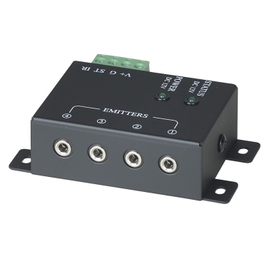 RPT-104-1: 1 x 4 IR Repeater Distributor with screw connector for IR receiver - Built-in 4 emitter outputs - Built-in removable connector for system connection - Mounting/adhesive near audio equipment - Status ...