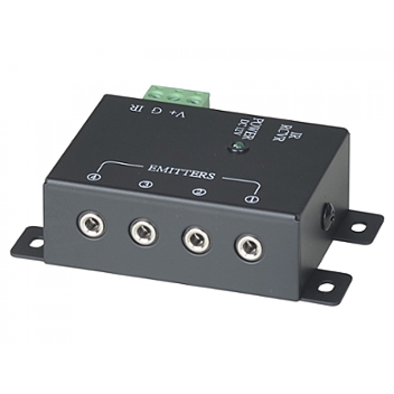 RPT-104-7: 1 x 4 IR Repeater Distributor with one screw/one plug connector for IR Recceiver - Built-in 4 emitter outputs - Built-in removable connector for system connection - Power receptacle with LED indicator