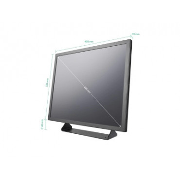 MON19M: 19 inch monitor metal (5: 4) - HDMI, VGA, BNC and RCA-Tulp connection - Desktop, recessed and wall mounting - 410 x 334 x 39 mm