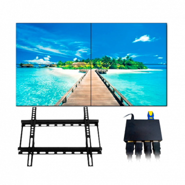 """KIT-VIDEOWALL55-2X2-WALL: Complete video wall kit - Monitors LED 55"""" - Support and HDMI splitter included - HDMI, DVI, VGA, AV, RS232 and RJ45 - Special for wall installation - 3.5mm total margin"""