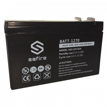 BATT-1270: Rechargeable battery - Lead-acid - Voltage 12 V - Capacity 7.0 AH - 151 x 65 x 94 mm / 2100 g - For backup or direct use