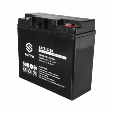 BATT-1218: Rechargeable battery - AGM lead acid technology - Voltage 12 V - Capacity 18 Ah - 168 x 181 x 77 mm / 5600 g - For backup or direct use