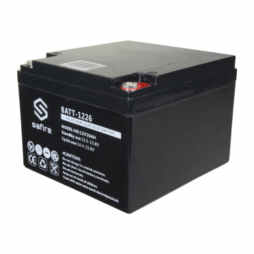 BATT-1226: Rechargeable battery - AGM lead acid technology - Voltage 6 V - Capacity 26 Ah - 182 x 166 x 126 mm / 8400 g - For backup or direct use
