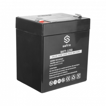 BATT-1250: Rechargeable battery - AGM lead acid technology - Voltage 12 V - Capacity 5.0 Ah - 105 x 90 x 70 mm / 1630 g - For backup or direct use