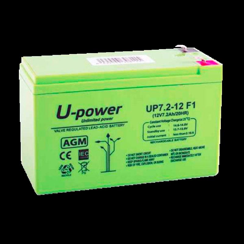 BATT-1272-U: AGM lead acid battery - Voltage 12V - Capacity 7.2 Ah - 101 x 151 x 65 mm / 2180 g - For backup or direct use