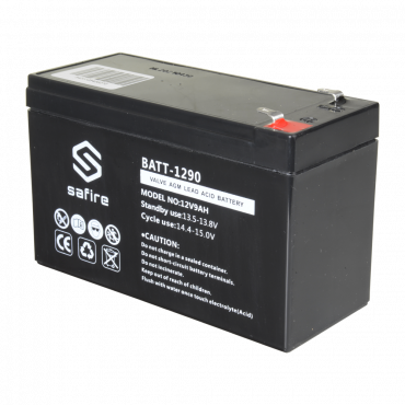 BATT-1290: Rechargeable battery - AGM lead acid technology - Voltage 12 V - Capacity 9.0 Ah - 100 x 151 x 65 mm / 2570 g - For backup or direct use