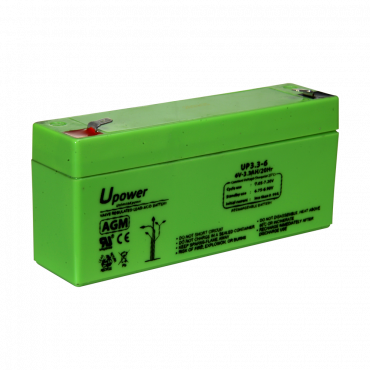 BATT-6033-U: Upower - Rechargeable battery - AGM lead-acid technology - Voltage 6 V - Capacity 3.2 Ah - 60 x 134 x 34 mm / 670 g - For backup or direct use