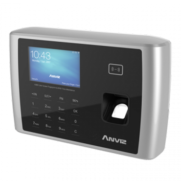 A380: ANVIZ Time & Attendance Terminal - Fingerprints, RFID cards and keyboard - 10.000 recordings / 200.000 records - WiFi, TCP/IP, USB, RS232, relay for siren - 8 Time & Attendance control modes - Free CrossChex Software