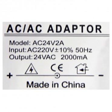 AC24V2A: AC/AC Transformer - Input AC 220 V - Output AC 24 V 2 A - Cable length 1 m - 90 (H) x 65 (W) x 55 (D) mm - 773 g