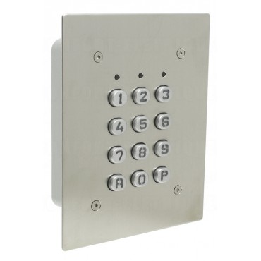 SU1-EAB-TME : Inox mortice mounted housing - metal keys - 12V AC/DC - IP65 - 1 relais CRT 1A / 1 open collector 250 mA