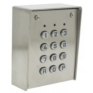 SU1-SAB-TME : Inox Housing - metal keys - surface mounting - 12V AC/DC - IP65 - 1 relais CRT 1A / 1 open collector 250 mA