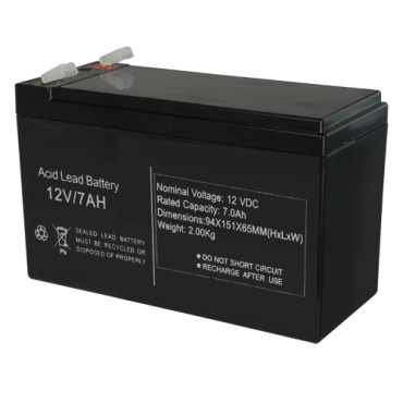 BAT1270: Rechargeable battery - Lead-acid - Voltage 12 V - Capacity 7.0 AH - 151 x 65 x 94 mm / 2100 g - For backup or direct use