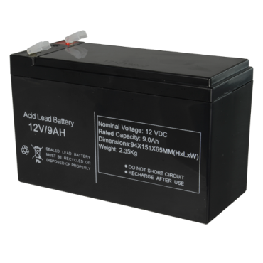 BAT1290: Rechargeable battery - Lead-acid - Voltage 12 V - Capacity 9.0 AH - 151 x 65 x 94 mm / 2510 g - For backup or direct use