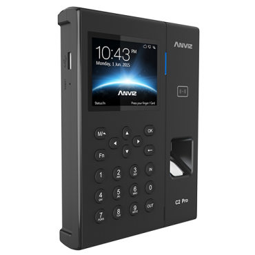 C2PRO: Anviz Access Control and Time & Attendance - Fingerprint, RFID y keypad - 5000 recordings / 100000 records - WiFi, TCP/IP, USB, RS232, Relay - 8 Time & Attendance control modes - CrossChex software