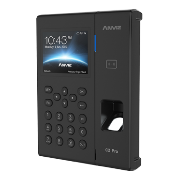 C2PRO-POE : Presence and Access Control PoE - Fingerprints, RFID EM and keyboard - 5000 recordings / 100000 records - WiFi, TCP/IP, USB, integrated controller - 16 Presence control modes - CrossChex and Anviz Cloud software