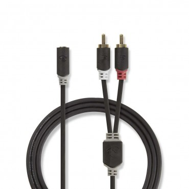 CABW22255AT02: Stereo audio cable | 2x RCA male - 3.5 mm female | 0.2 m | Anthracite