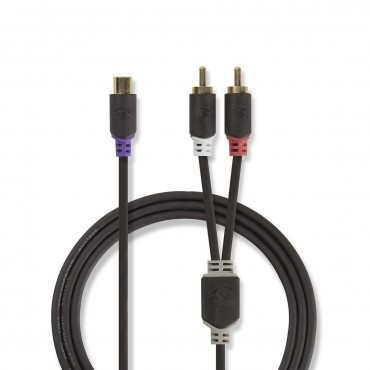 CABW24020AT02: Subwoofer cable | 2x RCA male - RCA female | 0.2 m | Anthracite
